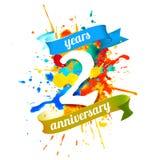 Two years anniversary. Splash paint. Two years anniversary. Vector watercolor splash paint Stock Photo
