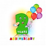 2 anniversary funny logo. Two years old animated logotype. Kids birthday colored card with personified digit and many bright celebrating congratulating balloons vector illustration