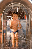 Two years old boy at a waterpark. Of Lugano on Switzerland Stock Photography