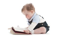 Two Years Old Cute Boy Reading A Book Royalty Free Stock Photo