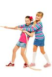 Girls team pulling the rope Royalty Free Stock Image