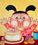 Two years old kid very happy with her birthday. Acrylic painting. The picture is created and painted by the photographer Royalty Free Stock Photo