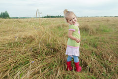 Two years old preschooler girl looking over her shoulder among farm field floral covering. Two years old preschooler girl is looking over her shoulder among farm royalty free stock photography