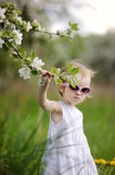 Two years old toddler girl and blossoming tree Stock Photos