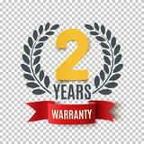 Two Years Warranty background with red ribbon and olive branch. Poster, label, badge or brochure template design. Vector illustration Royalty Free Stock Photo