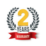 Two Years Warranty background. Two Years Warranty background with red ribbon and olive branch on white. Poster, label, badge or brochure template design. Vector Stock Images