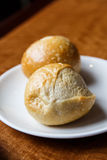 Two Yeast Rolls on Plate Royalty Free Stock Photography