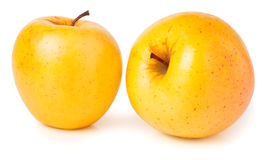 Two yellow apples isolated on white Royalty Free Stock Images