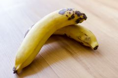 Two yellow banana with natural light. Stock Photography