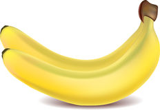 Two yellow bananas  on white Royalty Free Stock Photography