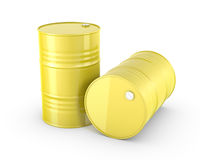 Two yellow barrels. On white background stock illustration