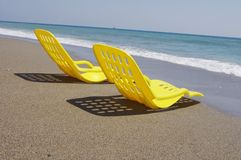 Two yellow beach chair Royalty Free Stock Photo