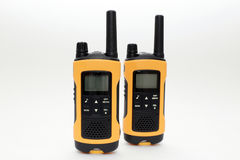 Two yellow and black portable radio set Stock Photo