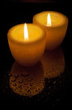 Two yellow candles Stock Image