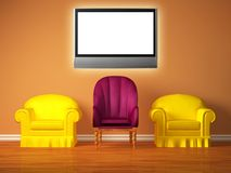 Two yellow chairs with a purple chair and lcd tv Royalty Free Stock Photo