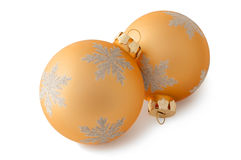 Two yellow Christmas decorations Royalty Free Stock Photography