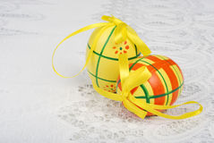 Two yellow easter eggs Stock Photo
