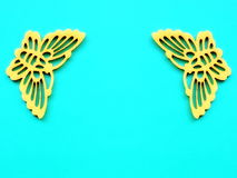 Two yellow fabric butterflies Royalty Free Stock Photography