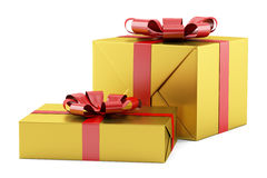 Two yellow gift boxes with red ribbons isolated on white Royalty Free Stock Photography