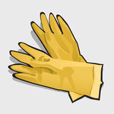 Two yellow gloves, left and right. Vector  Stock Image