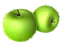 Two Yellow Green Apple covered with Raindrops. Foods and Dishes Royalty Free Stock Photos
