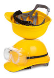 Two yellow hard hats Stock Photography