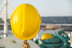 Two yellow hardhats Royalty Free Stock Photo