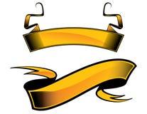 Two yellow heraldic ribbons Stock Image