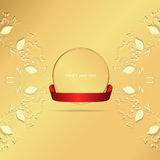 Two yellow horizontal circular ornament on a gold background with a gold tag and red ribbon. Royalty Free Stock Image