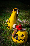Two yellow Jack-O-Lantern on grass Stock Photography