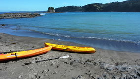 Two yellow Kayaks on the beach. Two yellow Kayaks beach of Matheson Bay, New Zealand stock footage