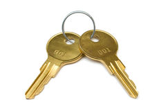 Two yellow keys on ring Stock Images