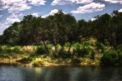 Two Yellow Lake Chairs Texas Hill Country Stock Photography