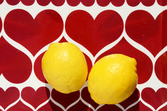 Two yellow lemons Stock Photo