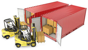 Two yellow lift truck unloading containers Stock Photo