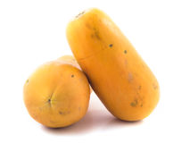 Two Yellow Papaya. On a white background stock images
