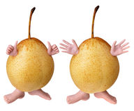 Two yellow pears characters Royalty Free Stock Photography