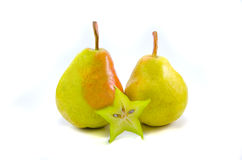 Two yellow pears. Isolated on white stock photo