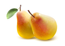 Two yellow red pears  on white Royalty Free Stock Photos