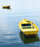 Two yellow rowing boats Royalty Free Stock Photos