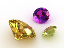 Two yellow sapphire and an amethyst stones. 3D render stock illustration