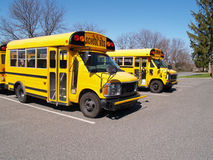 Two yellow school buses royalty free stock photos