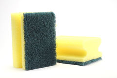 Two yellow sponge. Isolated on white background royalty free stock photography