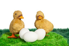 Two yellow toy chicks with three eggs Royalty Free Stock Image