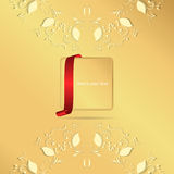 Two yellow vertical circular ornament on a gold background with a gold tag and red ribbon. Stock Images