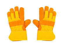 Two yellow work gloves, on white background Stock Photo