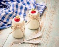 Two yogurt glass, with strawberries Stock Photo
