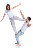 Two young acrobats. Stock Image