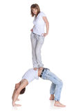 Two young acrobats. Stock Images