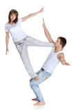 Two young acrobats. royalty free stock photography